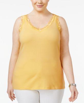 Karen Scott Plus Size Cotton Lace-Trim Tank, Only at Macy's