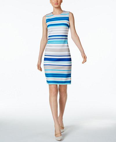 Calvin Klein Striped Scuba Sheath Dress, Regular & Petite Sizes