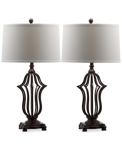 Safavieh Set of 2 Chloe Sculpture Bronze-Tone Table Lamps