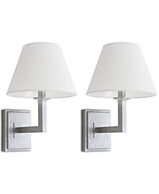 Set of 2 Pauline Silver-Tone Wall Sconces