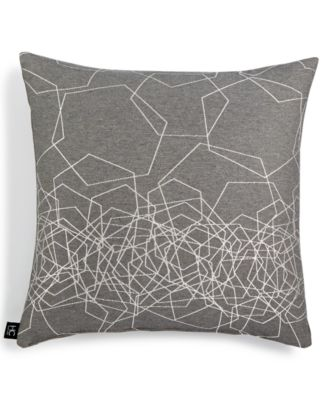 "LAST ACT! Gray Hexagon Metallic Jacquard 18"" Square Decorative Pillow"