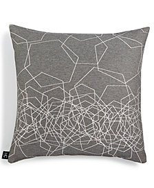 "LAST ACT! Hallmart Collectibles Gray Hexagon Metallic Jacquard 18"" Square Decorative Pillow"