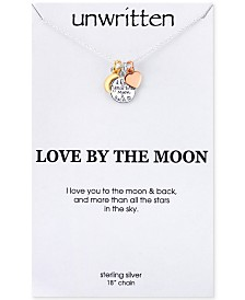 Unwritten I Love You to the Moon and Back Heart Charm Pendant Necklace in Sterling Silver