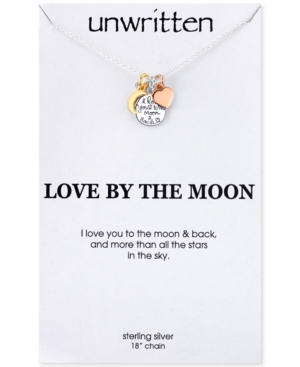 Unwritten I Love You to the Moon and Back Charm Pendant Necklace in 14k Gold and Sterling Silver