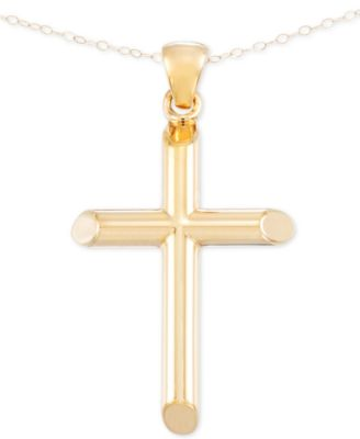 Signature Gold Cross Pendant Necklace in 14k Gold over Resin Core