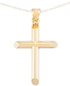 Signature Gold™ Cross Pendant Necklace in 14k Gold over Resin Core, Created for Macy's