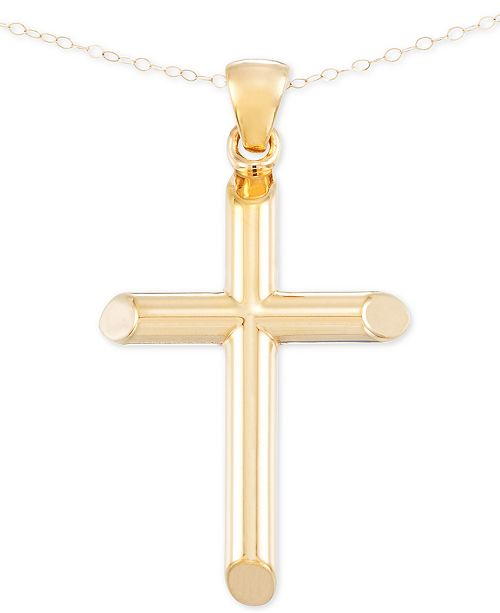 Signature gold cross pendant necklace in 14k gold over resin core main image aloadofball Gallery
