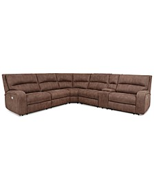 CLOSEOUT! Brant 6-Pc. Fabric Sectional Sofa with 2 Power Recliners, Power Headrests, Console and USB Power Outlet