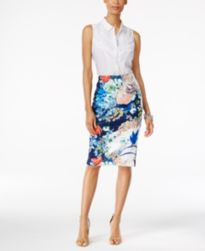 NY Collection Sleeveless Lace-Trim Blouse & ECI Textured Midi Pencil Skirt