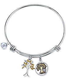 Two-Tone Family Tree Message Charm Bangle Bracelet in Stainless Steel