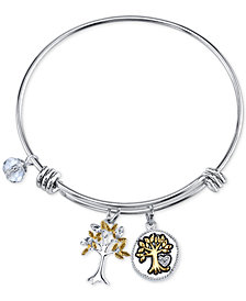 Unwritten Two-Tone Family Tree Message Charm Bangle Bracelet in Stainless Steel