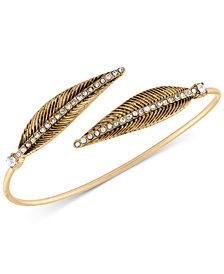 RACHEL Rachel Roy Gold-Tone Pavé Feather Bangle Bracelet