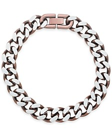 Sutton by Rhona Sutton Men's Copper IP-Plated Stainless Steel Chain Bracelet