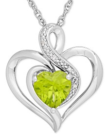 Peridot (1-1/3 ct. t.w.) & Diamond Accent Heart Pendant Necklace in Sterling Silver