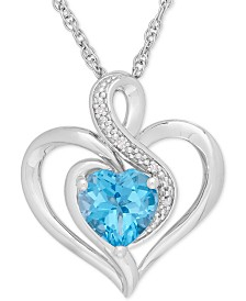 Blue Topaz (1-1/2 ct. t.w.) & Diamond Accent Heart Pendant Necklace in Sterling Silver