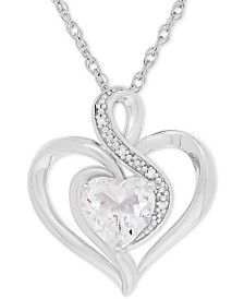 White Topaz (1-3/8 ct. t.w.) & Diamond Accent Heart Pendant Necklace in Sterling Silver