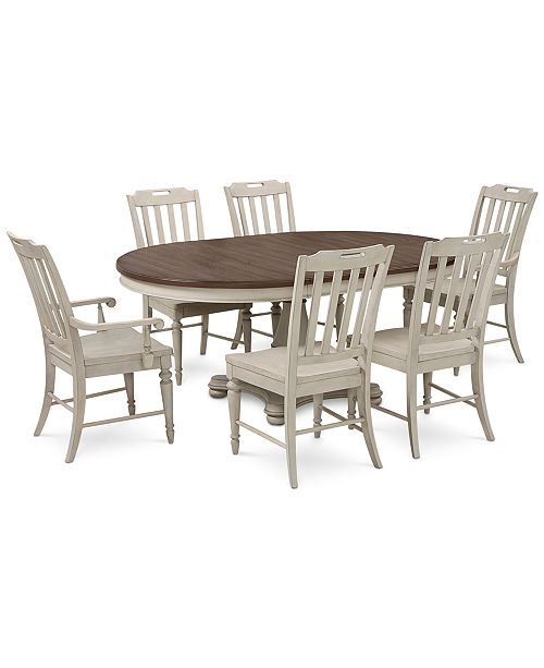 Furniture Barclay Expandable Round Pedestal Dining, 7-Pc. Set (Round Dining Pedestal Table, 4 Side Chairs & 2 Arm Chairs)