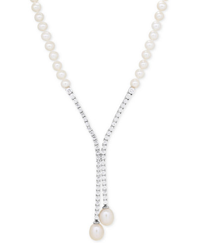 Arabella Cultured Freshwater Pearl (5mm & 10 x 8mm) & Swarovski Zirconia Lariat Necklace in Sterling Silver, Created for Macy's