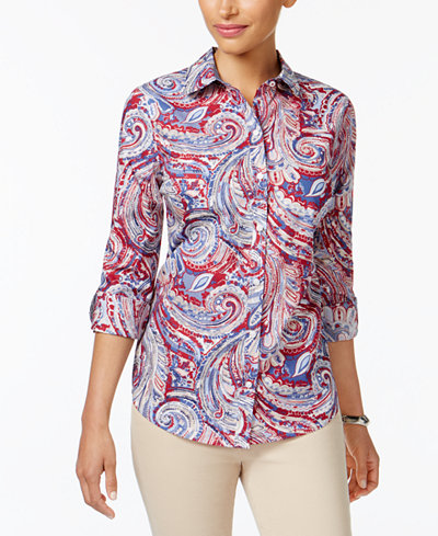 Charter Club Petite Cotton Printed Shirt, Created for Macy's
