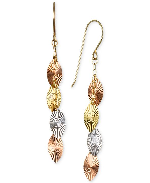 Macy's Tri-Color Swiss-Cut Drop Earrings in 10k Yellow, White and Rose Gold