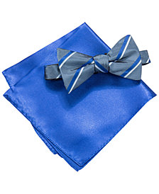 Alfani Blue Bow Tie & Pocket Square Set, Created for Macy's
