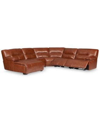 CLOSEOUT! Beckett 5-pc Leather Sectional Sofa with Chaise and 2 Power Recliners, Created for Macy's