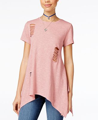 Say What? Juniors' Cutout Handkerchief-Hem Tunic T-Shirt