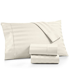 AQ Textiles Bergen Stripe 4-Pc. King Extra-Deep Sheet Set, 1000 Thread Count 100% Certified Egyptian Cotton