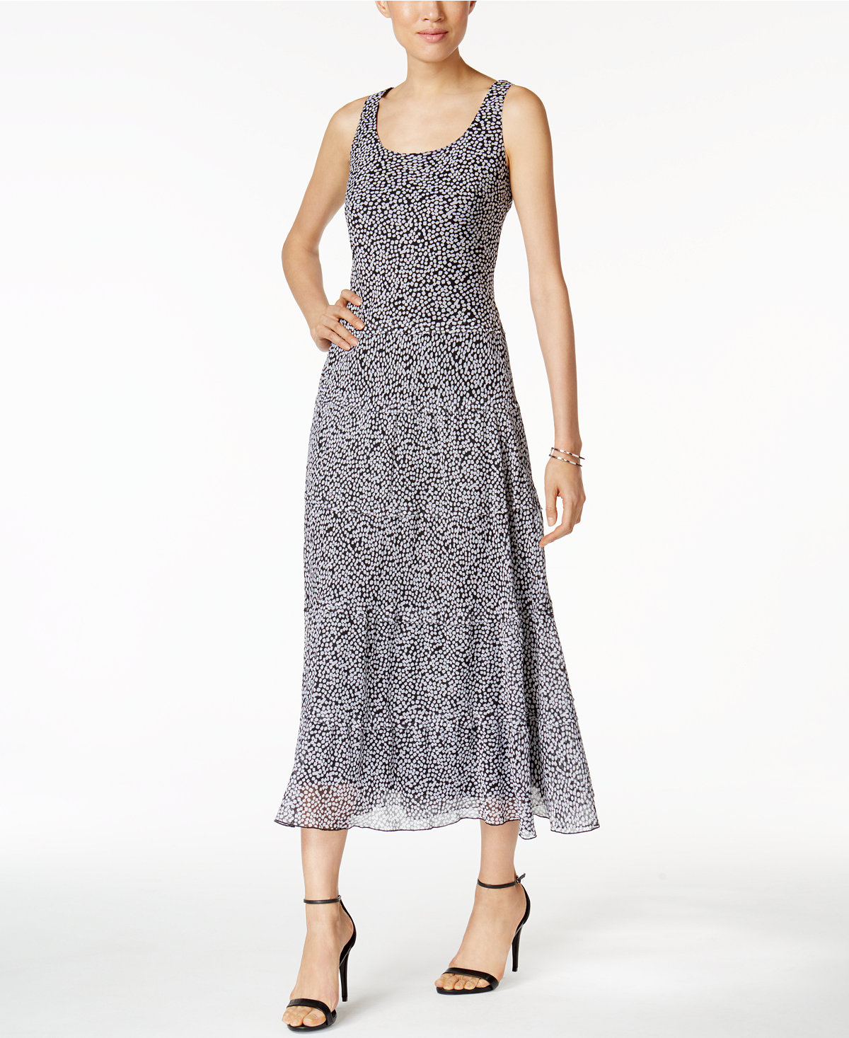 Nine West Printed Tiered Maxi Dress Deals