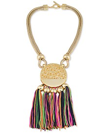 Trina Turk Gold-Tone Multi-Tassel Pendant Necklace