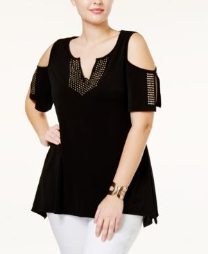 e0d0b52394d Belldini Plus Size Studded Cold-Shoulder Top In Black