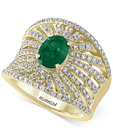 Final Call by EFFY® Emerald (1-1/8 ct. t.w.) & Diamond (1-1/10 ct. t.w.) Statement Ring in 14k Gold