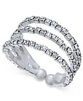 INC International Concepts Silver-Tone Crystal Pavé Triple Band Flex Ring, Created for Macy's
