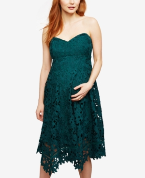 Vintage Style Maternity Clothes A Pea In The Pod Maternity Lace A-Line Dress $99.97 AT vintagedancer.com