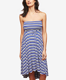 Motherhood Maternity Strapless Striped Dress