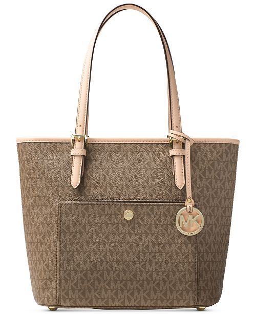 3425b2d08787 ... Michael Kors Signature Jet Set Item Medium Top Zip Snap Pocket Tote ...