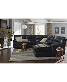 Garraway Leather Power Reclining Sectional Sofa Collection With Power Headrest and USB Power Outlet, Created for Macy's