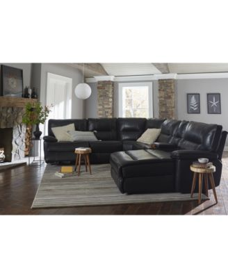 Garraway Leather Power Reclining Sectional Sofa Collection With Power  Headrest And USB Power Outlet, Created