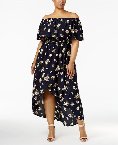 Soprano Trendy Plus Size Off-The-Shoulder Maxi Dress