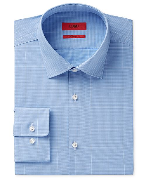9220eaab7 ... Hugo Boss HUGO Men's Slim-Fit Light Blue Window Pane Check Dress Shirt  ...
