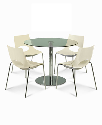 Saturn Dining Room Furniture 5 Piece Set Table And 4 Milky White Chairs