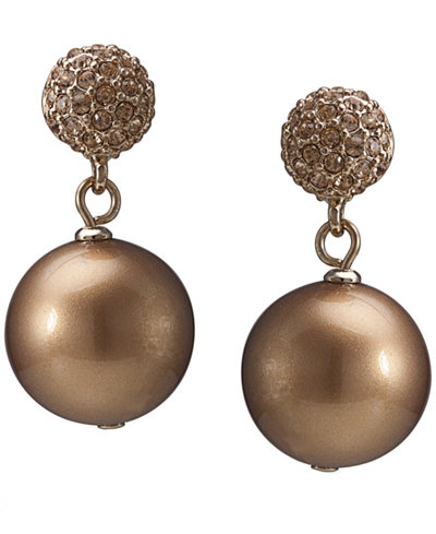 Carolee Earrings, Gold-Tone Glass Pearl Crystal Double Drop