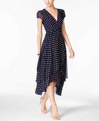 Betsey Johnson Polka Dot Faux-Wrap Midi Dress