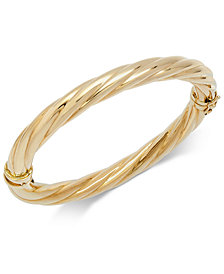 Italian Gold Polished Twisted Bangle Bracelet in 14k Gold