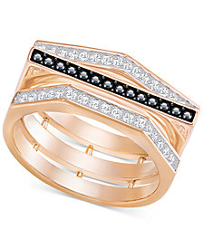 Swarovski Rose Gold-Tone Clear & Black Pavé Ring