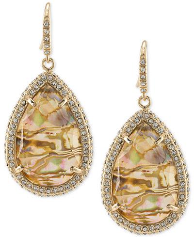 ABS by Allen Schwartz Gold-Tone Pavé & Abalone Stone Drop Earrings