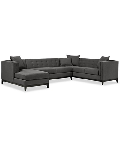 Braylei 3-Pc. Tufted Sectional w/ Chaise & 3 Toss Pillows, Created for Macy's