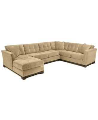 Elliot Fabric Microfiber 3 Piece Chaise Sectional Sofa, Custom Colors,  Created For Macyu0027s
