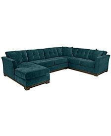 Elliot Fabric Microfiber 3-Piece Chaise Sectional Sofa - Custom Colors, Created for Macy's