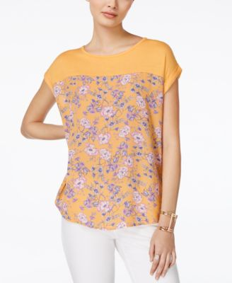 Image of Hippie Rose Juniors' Printed Knit-Yoke T-Shirt